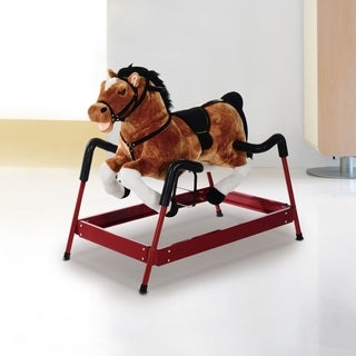 Qaba Kids Plush Spring Rocking Horse with Realistic Sounds