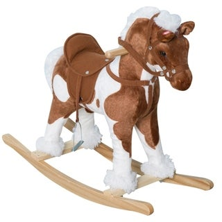 Link to Qaba Kids Metal Plush Ride-On Rocking Horse Chair Toy with Realistic Sounds - Light Brown / White Similar Items in Bicycles, Ride-On Toys & Scooters