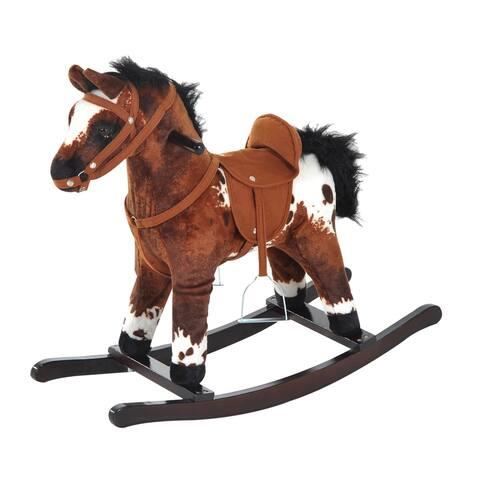 Qaba Plush Ride On Rocking Horse with Sound