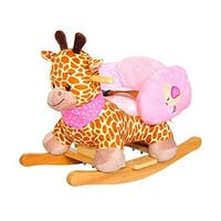 Qaba Plush Kids Ride On Rocking Horse Giraffe with Sound