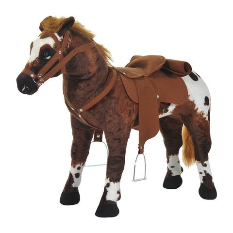 Qaba Children's Plush Interactive Standing Ride-On Horse Toy with Sound -Dark Brown