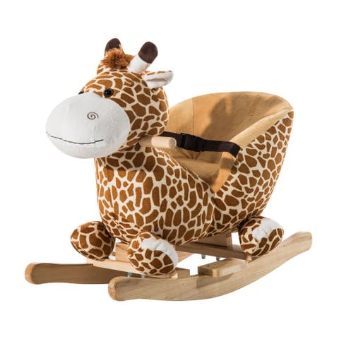 Qaba Kids Brown Plush Rocking Horse-Style Giraffe Themed Ride-On Chair Toy With Sound