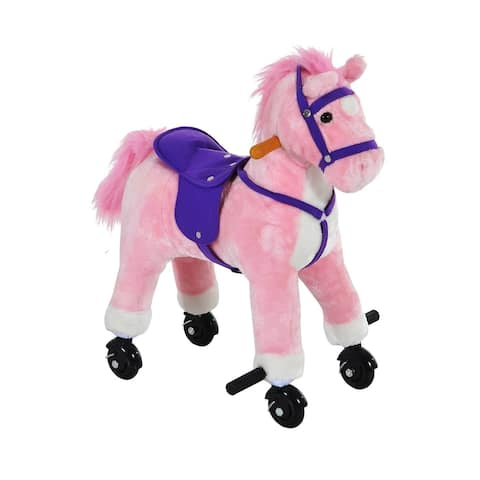 Qaba Kids Interactive Plush Mechanical Walking Ride On Horse Toy with Wheels, Pink