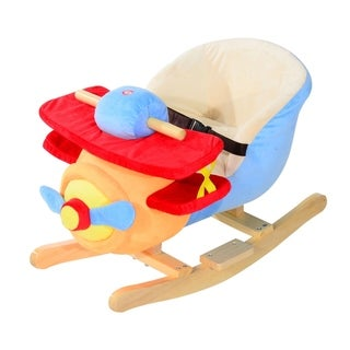 Qaba Kids Plush Ride On Rocking Horse Airplane Chair with Nursery Rhyme Sounds