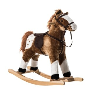 Qaba Kids Plush Brown Rocking Horse Pony with Realistic Sounds