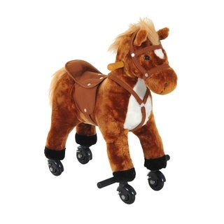 Qaba Plush Walking Horse Toy with Wheels and Sound