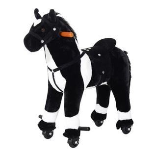 Qaba Kids Plush Ride On Walking Horse with Wheels