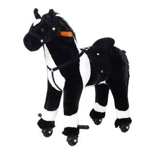 Qaba Kids Plush Ride On Walking Horse with Wheels|https://ak1.ostkcdn.com/images/products/18004671/P24175441.jpg?impolicy=medium