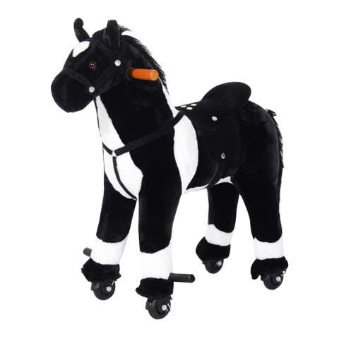 Plush Walking Horse Ride On Toy with Wheels and Realistic Sounds for Boys and Girls