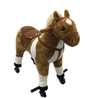 Qaba Kids Plush Ride On Walking Horse with Wheels