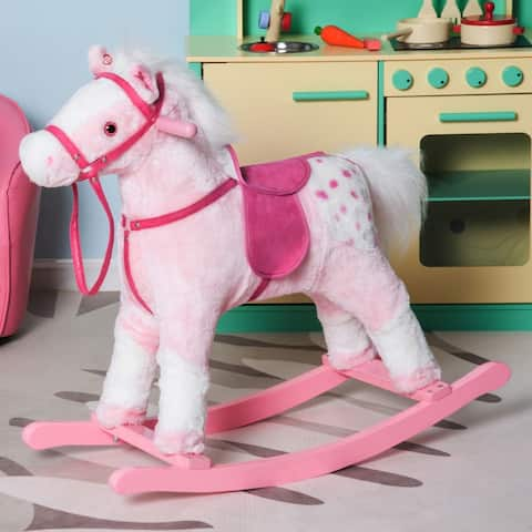 Kids Plush Toy Rocking Horse Pony with Realistic Sounds - Pink