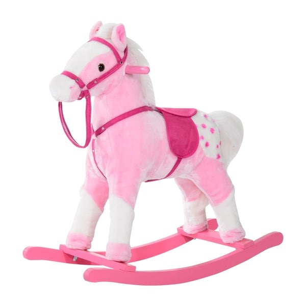Shop Qaba Kids Plush Rocking Horse Pony With Realistic Sounds Free