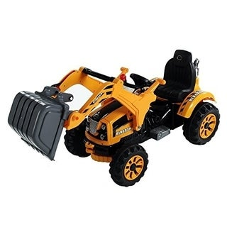 Aosom 6V Kids Ride On Toy Digger Excavator Construction Tractor - Yellow