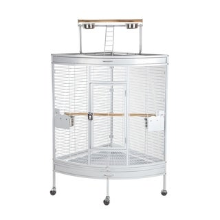 Pawhut Large Corner Playtop Bird Cage with Stand and Wheels