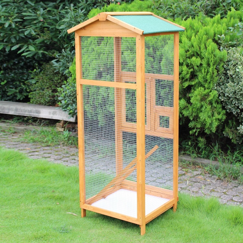 Pawhut Aviary Bird Cage, Brown, Size Medium