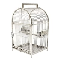 "Pawhut 25"" Dome Top Stainless Steel Travel Bird Cage"