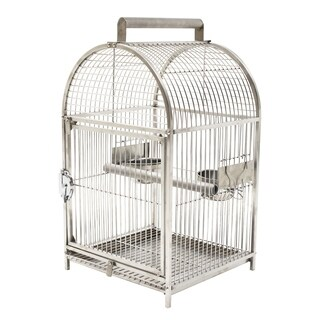 Pawhut Dome Top Stainless Steel Travel Bird Cage