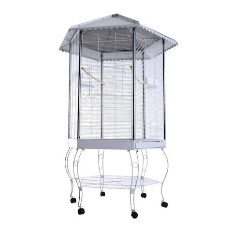Pawhut Hexagonal Aviary Bird Flight Cage