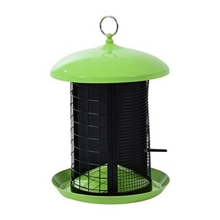 Pawhut Triple Chamber Squirrel Resistant Outdoor Bird Feeder - LIME GREEN