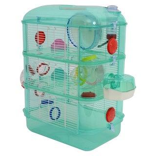 Pawhut 3 Story Happy Hamster Habitat Pet Critter Cage - Green