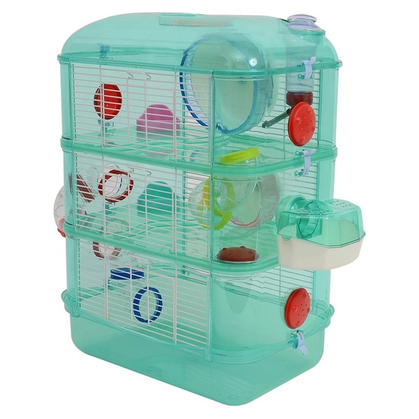 Pawhut 3 Story Happy Hamster Habitat Pet Critter Cage - Green