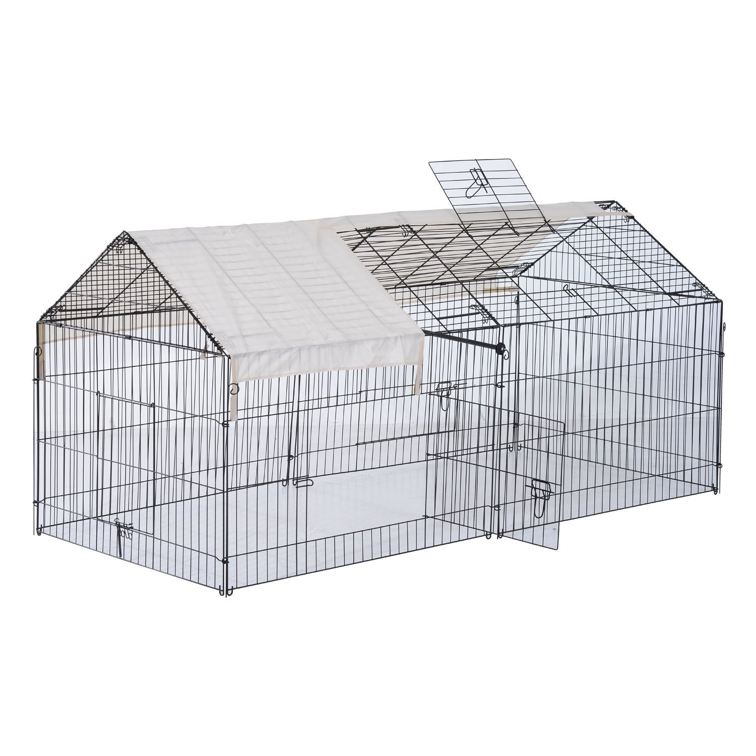 Aosom Pawhut Metal Outdoor Small Animal Enclosure with Pr...