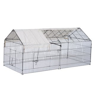 Pawhut Metal Outdoor Small Animal Enclosure with Protective Cover - Black and white