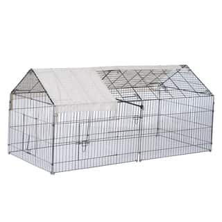 "PawHut 87"" x 41"" Galvanized Metal Outdoor Pet Enclosure Dog Kennel with Removeable Protective Cover"