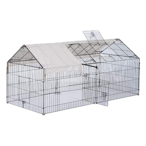 PawHut 87 x 41 Outdoor Metal Pet Enclosure Small Animal Playpen Run for Rabbits, Chickens, Cats, Small Animals