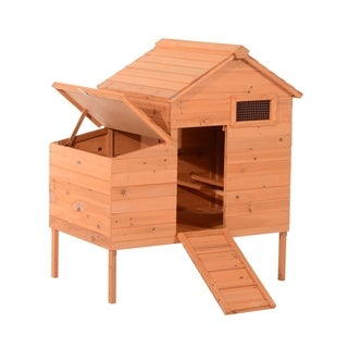 Pawhut Outdoor Raised Leg Hen House Chicken Coop - Light brown