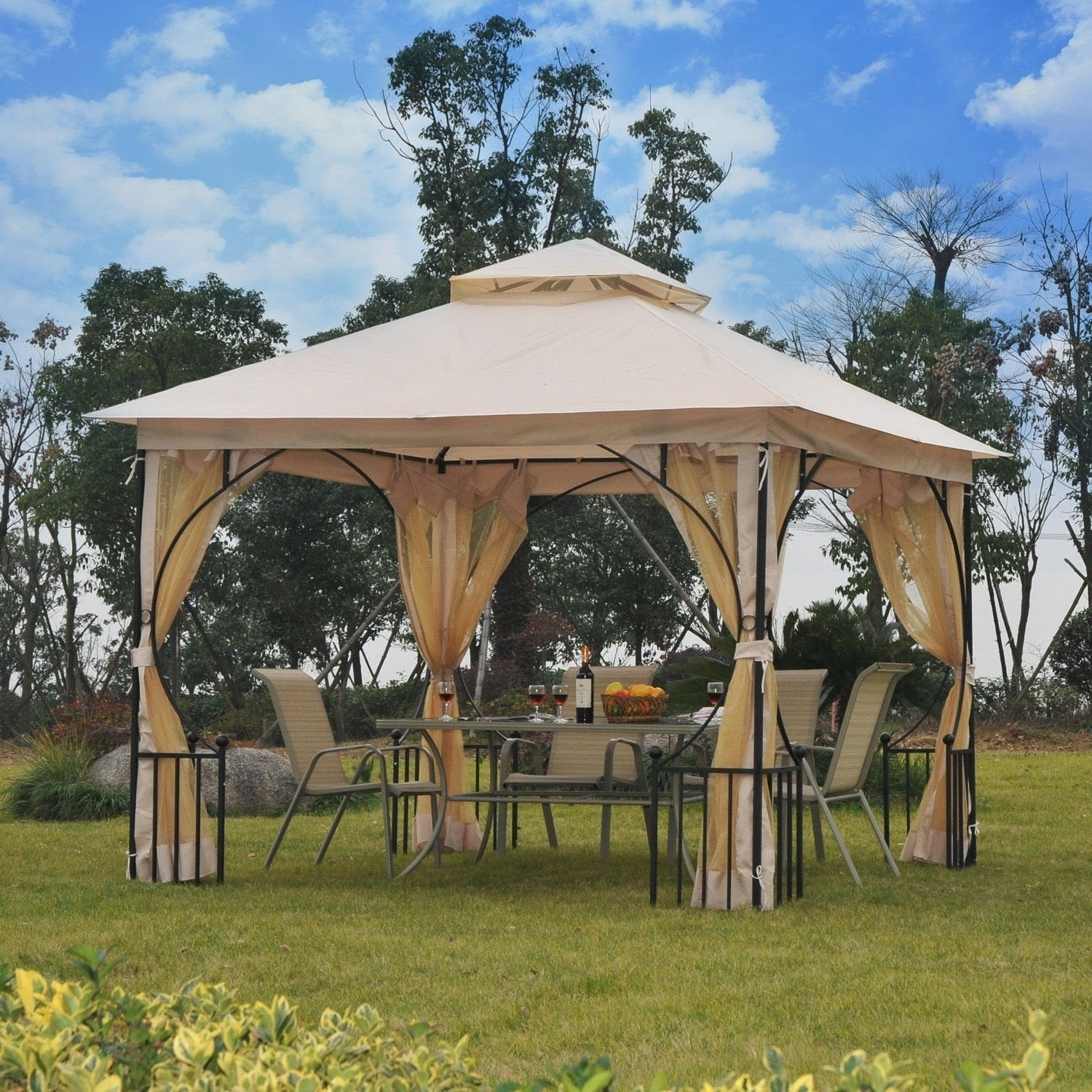 Ordinaire Outsunny Steel Outdoor Garden Gazebo With Mosquito Netting