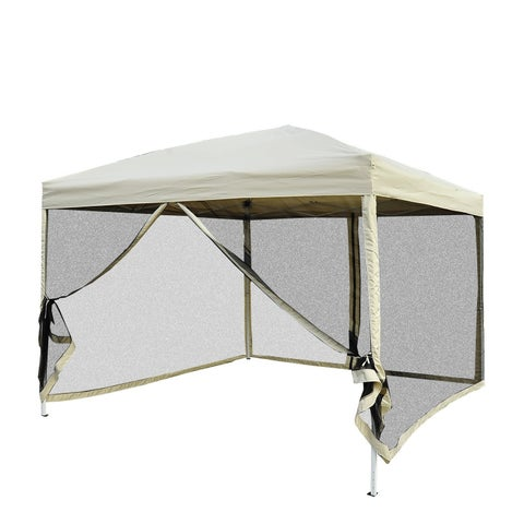Outsunny 10' x 10' Easy Pop Up Canopy Tent with Mesh Side Walls - Tan