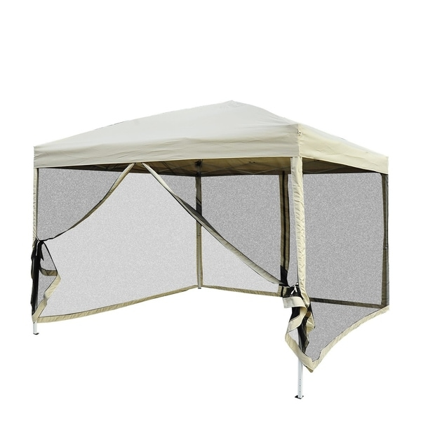 Pop Up Canopy Tent >> Outsunny 10 X 10 Easy Pop Up Canopy Tent With Mesh Side Walls Tan