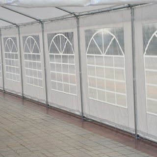 Outsunny White Metal Frame Party Tent Event Canopy With Sidewalls and Windows