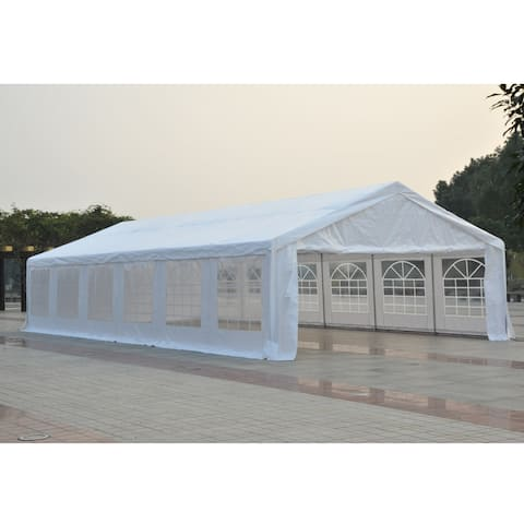 Outsunny 40' x 20' x 6.5' White Heavy Duty Party & Event Tent Awning or Carport & Garage Cover, with Water-Resistant Fabric