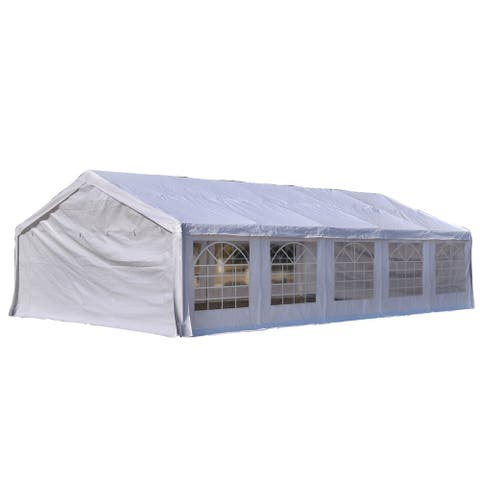 Outsunny 32' x 20' x 10.5' White Heavy Duty Party & Event Tent Awning or Carport & Garage Cover, with Water-Resistant Fabric