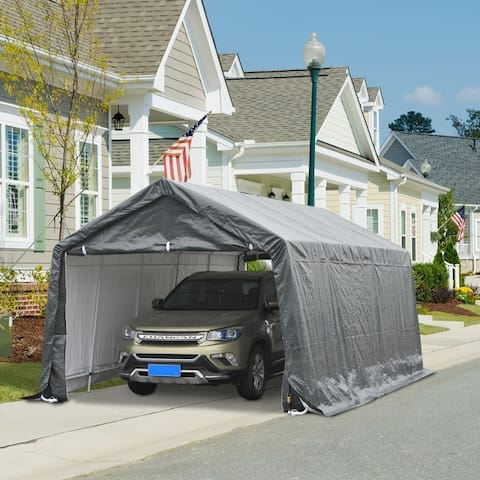 Outsunny 20' x 12' Heavy Duty Outdoor Temporary Carport Canopy Tent with Durable Construction & a Simple Setup