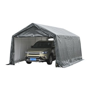 Outsunny Heavy Duty Enclosed Vehicle Shelter Carport - N/A