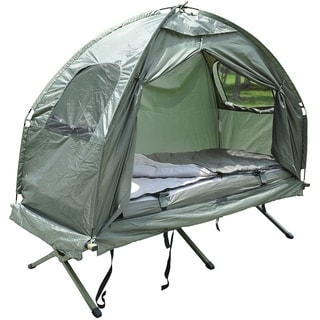 Outsunny Pop Up Tent Cot with Air Mattress and Sleeping Bag Combo