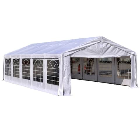 Outsunny 32' x 16' x 9.2' White Heavy Duty Party & Event Tent Awning or Carport & Garage Cover, with Water-Resistant Fabric