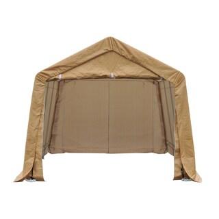Outsunny Beige Polyethylene Heavy-duty Enclosed Vehicle Shelter Carport