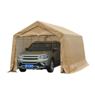 Outsunny Beige Polyethylene Heavy-duty Enclosed Vehicle Shelter Carport