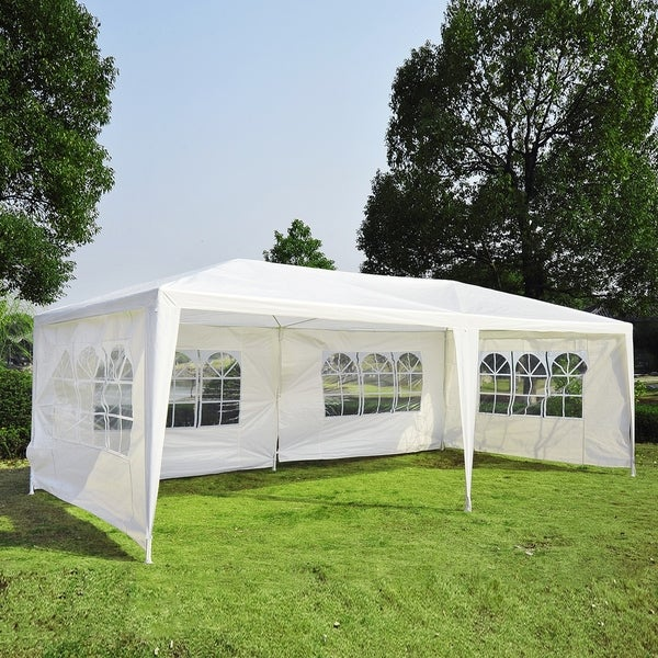 Outsunny Gazebo Canopy Tent with 4 Removable Window Side Walls