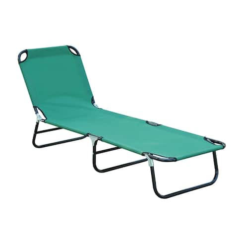 Outsunny Portable Folding Sun Beach Lounger / Camping Cot with 3-Level Adjustable Backrest & Lightweight Design, Green