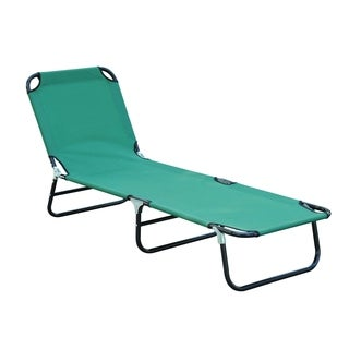 Outsunny Deluxe Folding Adjustable Sun Lounger & Camping Cot - Green