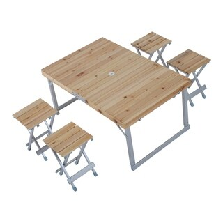 Outsunny Height Adjustable Folding Outdoor Picnic Table with 4 Seats
