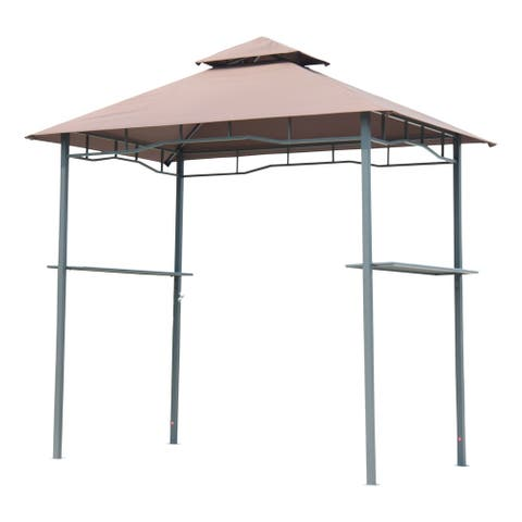Outsunny 8' Patio Double-tier BBQ Grill Canopy Tent with Large Storage Work Surface & Stylish Utility