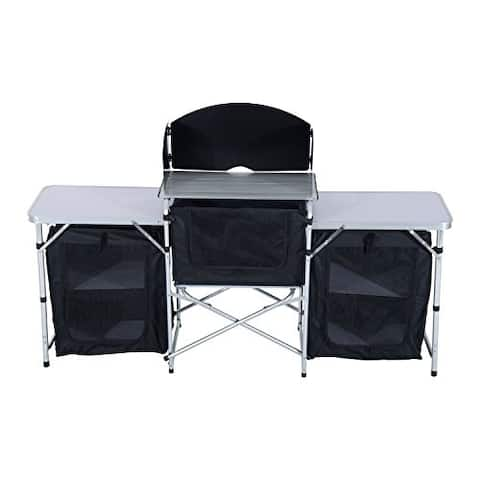Outsunny Deluxe Portable Fold Up Camp Kitchen with Windscreen