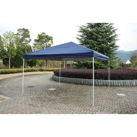 Outsunny 13' x 13' Adjustable Height Pop Up Canopy Party Tent with Easy Setup/Takedown & Included Carry Bag - Dark Blue