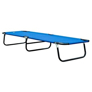 Outsunny Deluxe Folding Military style Camping Cot - Blue